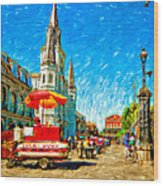 Jackson Square Painted Version Wood Print