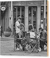 Jackson Square Reading 2 Bw Wood Print