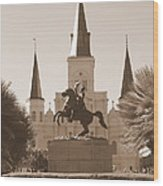 Jackson Square Statue In Sepia Wood Print