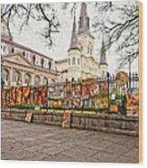 Jackson Square Winter Impasto Wood Print