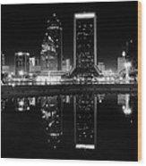 Jacksonille Black And White Night Wood Print