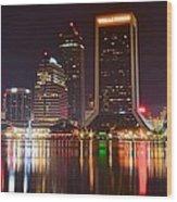 Jacksonville Aglow Wood Print