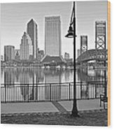 Jacksonville Black And White Ay Wood Print