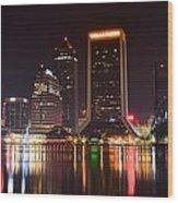 Jacksonville Night Wood Print