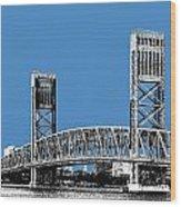 Jacksonville Skyline 2  Main Street Bridge - Slate Blue Wood Print