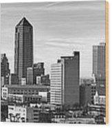Jacksonville Skyline Morning Day Black And White Bw Panorama Florida Wood Print