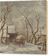Jacob Cats Dutch, 1741 - 1799, Winter Scene Wood Print