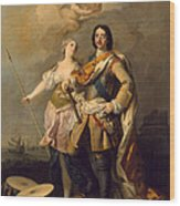 Peter I With Minerva With The Allegorical Figure Of Glory Wood Print