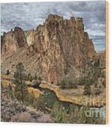Jagged Peaks And River Reflections Wood Print