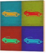 Jaguar E Type Pop Art 1 Wood Print by Naxart Studio