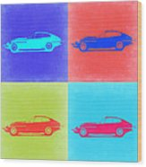 Jaguar E Type Pop Art 2 Wood Print by Naxart Studio