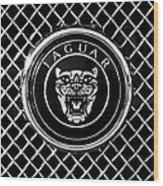 Jaguar Grille Emblem -0317bw Wood Print