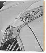 Jaguar Hood Ornament In Black And White Wood Print