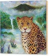 Jaguar In The Mist Wood Print