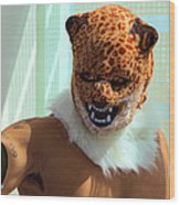 Jaguar Man Mask Wood Print