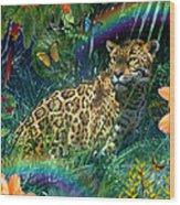 Jaguar Meadow  Variant 1 Wood Print