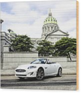 Jaguar Xk And The Capitol Building Wood Print