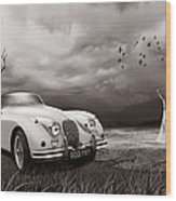 Jaguar Xk150 - Admiring The View Wood Print