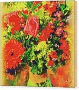 J'aime Le Bouquet Wood Print