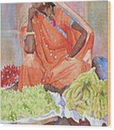 Jaipur Street Vendor Wood Print