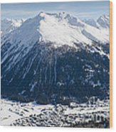Jakobshorn Davos Mountains And Town Switzerland Wood Print