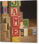 James - Alphabet Blocks Wood Print