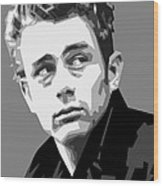 James Dean In Black And White Wood Print