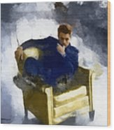 James Dean In Yellow Leather Chair Wood Print