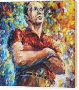 James Dean - Palette Knife Oil Painting On Canvas By Leonid Afremov Wood Print