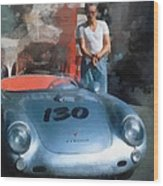 James Dean With His Spyder Wood Print