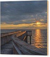 James River Sunset Riverview Pier Wood Print
