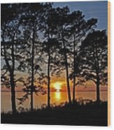 James River Sunset Wood Print