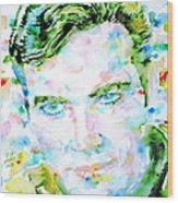 James T. Kirk - Watercolor Portrait Wood Print by Fabrizio Cassetta