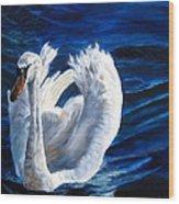 Jamie's Swan Wood Print