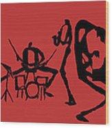 Jammin Jazz On Red Wood Print