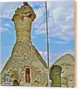 Jandarma Or Police Station In A Fairy Chimney In Cappadocia-turkey  Wood Print