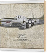 Janie P-51d Mustang - Map Background Wood Print
