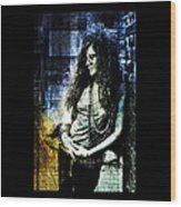 Janis Joplin - Blue Wood Print