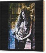 Janis Joplin - Gold Wood Print