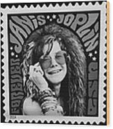 Janis Stamp In A Black And White Vibe Wood Print