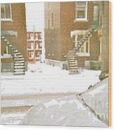 January Winter Street Winding Snow Covered Staircase Montreal Art Verdun Duplex Painting Cspandau Wood Print