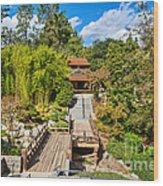 Japan In Pasadena - Beautiful View Of The Newly Renovated Japanese Garden In The Huntington Library. Wood Print