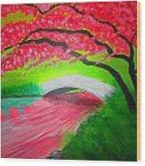 Japanese Blossoms Wood Print by Haleema Nuredeen