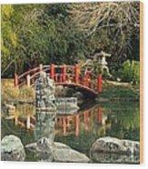 Japanese Bridge Over Water Wood Print