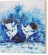 Japanese Cranes Wood Print
