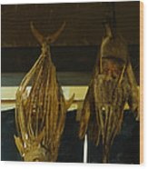 Japanese Fish And Seafood Dried Decoration Wood Print