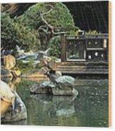 Japanese Garden At Sundown Wood Print