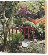 Japanese Garden Bridge With Rhododendrons Wood Print