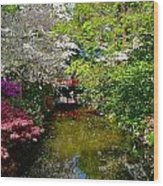 Japanese Garden In Bloom Wood Print