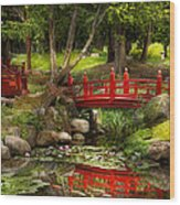Japanese Garden - Meditation Wood Print by Mike Savad